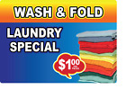 Wash Fold Laundry Special 1.oo Adhesive Vinyl Sign Decal