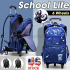 Kid Boy Children Trolley Backpack Student School Travel Luggage 6 Wheel Rucksack