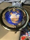 World Globe Made Of Lapis Semi Precious Stones And Brass