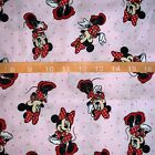 Disney Minnie Mouse Pink Red Toss 100 COTTON FABRIC 1 4 Yard 9x44
