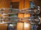 Pair HEAVY Crystal Art Glass Poland Bubble Candle Sticks 9 1 2 ART GLASS