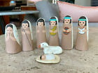 Vintage Mexican Folk Art 8 Piece Nativity Set Pieces Handpainted Clay