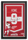 Gordie Howe Facsimile Signed Detroit Red Wings Jersey Arena Banner Museum Frame