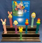 Vintage 7 Pez Lot Easter Bunny Egg Lamb Chick In Egg W/ Hat & Display Card Sign