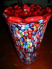Vintage MURANO  Red Millefiori Hand Blown Art Glass Vase VERY HEAVY 4LB 11OZ
