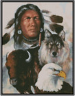 Native American w Wolf Buffalo and Eagle Cross Stitch Complete Kit 21 154