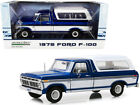 1 18 Greenlight 1975 Ford F 100 Pickup Truck  Deluxe Box Cover Blue White 13544