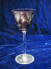 1 Bohemian Czech Tall Cut To Clear Amethyst Crystal Wine Glass Free Ship Thistle