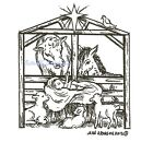 Christmas Nativity Baby Animals Wood Mounted Rubber Stamp NORTHWOODS F9256 New
