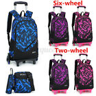3PCS Wheels Removable Kids Children School Trolley Backpack Bag Boys Rucksack