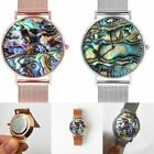 Women Stainless Steel Watches Ocean Series Real Abalone Shell Mesh Wristwatches
