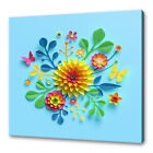 BEAUTIFUL COLOURFUL PAPER CUT OUT FLOWERS ABSTRACT CANVAS PRINT WALL ART PICTURE