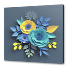 BEAUTIFUL BLUE YELLOW ROSES PAPER CUT FLOWERS ABSTRACT CANVAS PRINT WALL ART