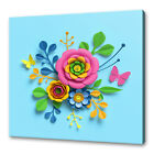 BEAUTIFUL BLUE PINK YELLOW PAPER CUT OUT FLOWERS ABSTRACT CANVAS PRINT WALL ART