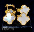 White Mother Of Pearl Four Leaf Clover Gold Flower Trendy European Stud Earrings