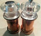 Vintage Copper w Acrylic Top Salt  Pepper Mill Shakers 5 Tall