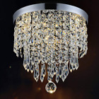 Small Chandelier Flush Mount Crystal Lamp Light For Bedroom Hallway Entry Foyer