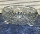Crystal Glass Bowl Lead Cut 3 Legs Star Burst Diamond Cut Vintage 30 Wide
