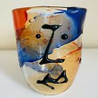 Rare Murano Italian Picasso Style Abstract Face Glass Beaker Signed Badioli M