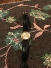 Ladies Guess Watch Black Band Gold Toned