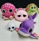 TY BEANIE BOOS LOT OF 5 ZOOM, SHELBY, OLLIE, FLIPS & SEAMORE GOOD USED CONDITION