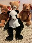 Four Ty Beanie Babies w FORTUNE THE PANDA Fuzz Woody + Hope. ALL Great Condition