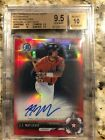 2017 Bowman Chrome Red Refractor J.J. Matijevic RC AUTO 5 5 BGS 9.5 10