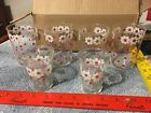 Vtg. Libbey set of 6 Drinking Glasses Red, White Floral (Daisy?)4 tall
