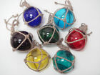 3 PCS ASSORT COLOR GLASS FLOAT BALL WITH FISHING NET 5 PICK YOUR COLORS