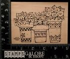 WHIPPER SNAPPER RUBBER STAMPS A037 GARDEN FLOWER POTS FILLED FLOWERS BORDER 2409