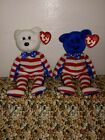 TY BEANIE BABY PLUSH RED / WHITE / BLUE LIBERTY BEAR SET. ERROR HANG TAGS