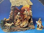 2001 FONTANINI HEIRLOOM NATIVITY 5 SIX FIGURE SET  LIGHTED STABLE 54503