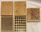 5 Background Rubber Stamps Tree Mesh Screen Checkered Geometric Flowers  Dots