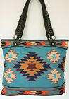 Teal with Rust Beige Blue Aztec Design MONTANA WEST Tote Bag Shopping Bag