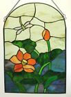 Retro 1980s Or 1990s Quality Dragonfly  Flowers Stained Glass Window Hanging