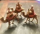 Vintage Fontanini Depose Italy Nativity Scene Wise Men on Camels 3 Pieces