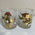 Vintage Culver Mid Century Modern Whiskey Tumblers Gold Flake Bears Frosted Glas