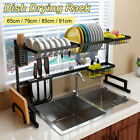 Large Kitchen Dish Rack Over Sink Stainless Steel Dish Drying Rack Drainer Tray
