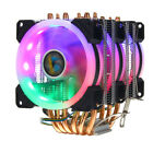 4 Pin CPU Cooler 6 Heatpipe W 3 RGB Fan For Intel 1150 1151 1155 1156 1366 AMD