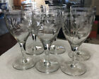 Set of 6 Tall Clear Crystal Optic Glass Wine Water Glasses W Etched Flowers