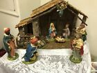 Vtg 11 pc Nativity Set  Large Wooden Creche Stable Italy