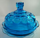 Vintage LE Smith Glass Blue Moon and Star Round Butter dish