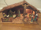 Christmas Nativity Creche Figurines Lighted Nativity Stable Handmade 1950s
