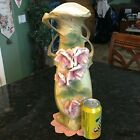 AUSTRIAN AMPHORA Art Nouveau VASE with Applied Flowers and leaves 17 Tall