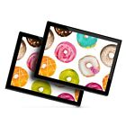 2 x Glass Placemats 20x25 cm Funky Colourful Donuts Doughnuts Cool 8480