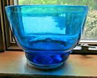 Vintage Blenko Art Glass Mid Century Beautiful Blue Glass Bowl