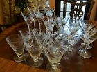 Etched Clear Gray Cut Stemware Daisies Poinsettia wine water cordial 720pe