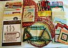 BOX LOT Counted Cross Stitch Supplies Patterns, Fabric, Magnifier
