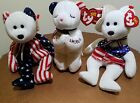 America Ty Beanie Babies ~ Spangle , Sam , American Blessing  ( Lot of 3 )