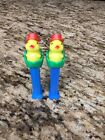 Vintage Lot Of 2 Easter Chick Green Egg With Red Hat Pez Dispensers